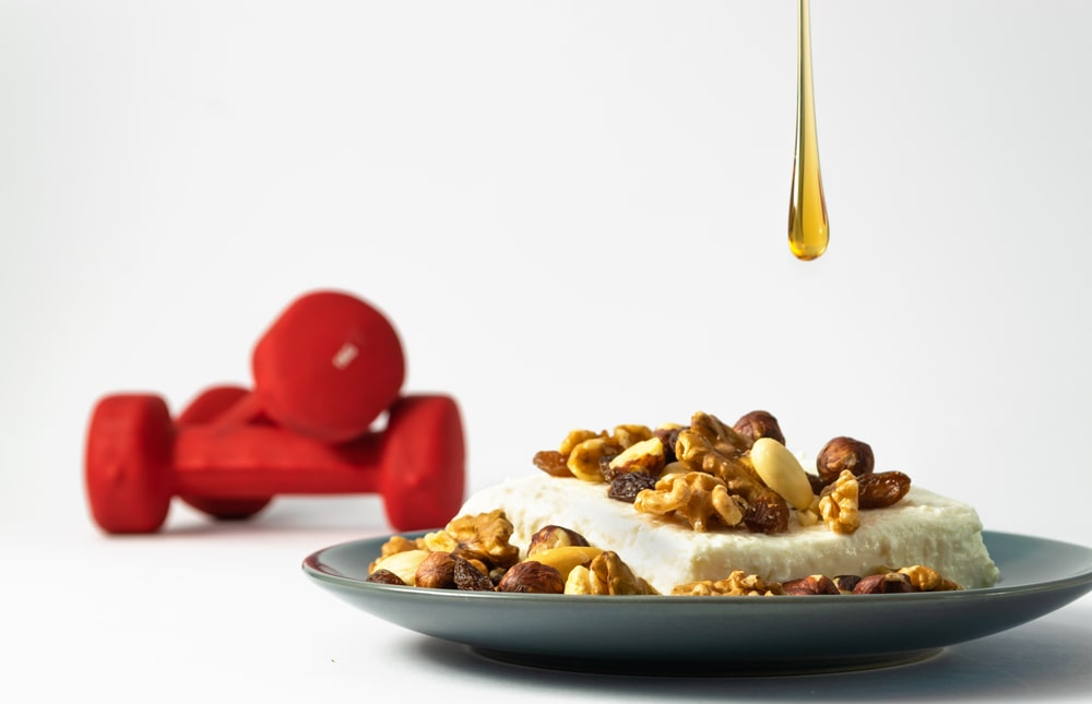 Honey And Healthy Food - Cottage Cheese And Nuts